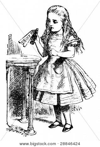 Alice is picking up a small bottle. Engraving by John Tenniel (United Kingdom, 1872). Illustration from book