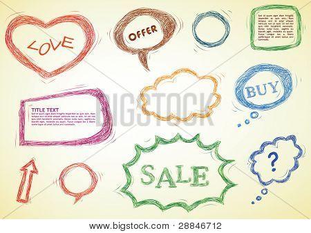 doodled design elements, speech bubbles, heart, frames
