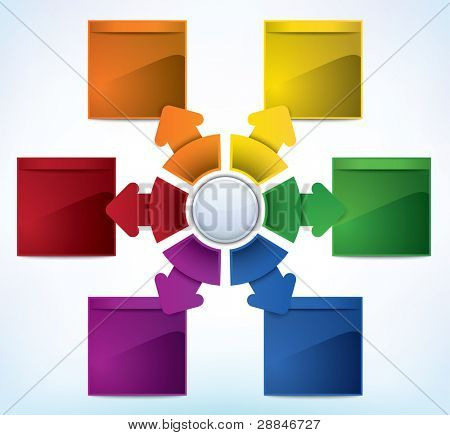 Multicolored presentation template with multiple directions and place for text