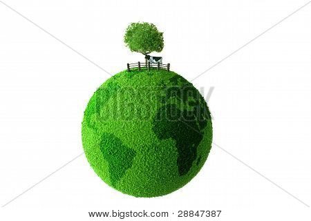Calf standing on green earth