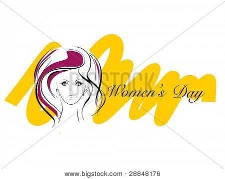 Vector illustration of greeting card with a beautiful women face and text for International Women's Day.