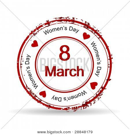 Vector illustration of a red color rubber stamp on white isolated background for International Women's Day.