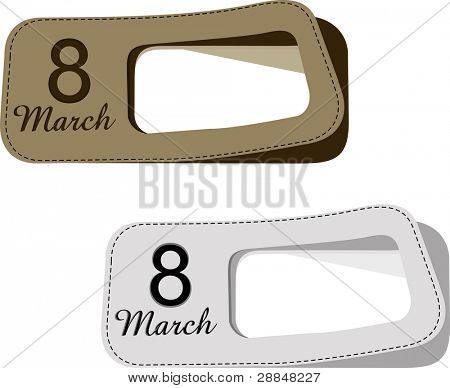 Vector illustration of labels with text 8 march and copy space in white and brown color for International Women's Day.