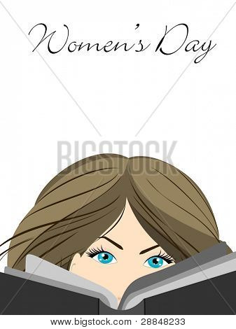 Vector illustration of a beautiful girl with blue eyes reading book on isolated white background for Women's Day.
