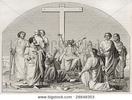 The Departure of the Apostles (to preach the Gospel). Created by Gleyre, published on Magasin Pittoresque, Paris, 1845