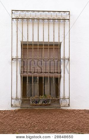 Close-up, Typical spanish window, white house