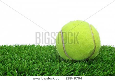 a tennis ball on the grass on a white background