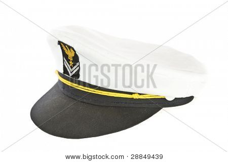White Nautical hat isolated on white