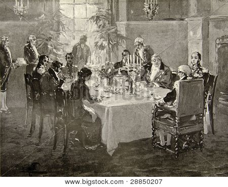 Invited supper in the house of noble family. Illustration by artist A.P. Apsit from book