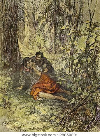 Rendezvous in an oak grove. Illustration by artist A.P. Apsit from book