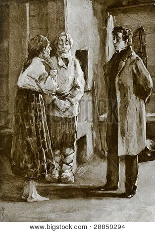 "Peasants talk to the barin. Illustration by unknown artist from book ""Leo Tolstoy ""Novels and Stories"", publisher - ""Partnership Sytin"", Moscow, Russia, 1914."