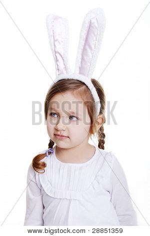 Portrait of baby girl with bunny ears headband