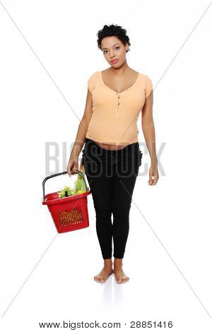 Full length picture of a pregnant woman carrying a shopping basket, isolated on a white background.