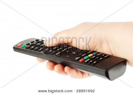 Television Receiver Remote Controller In A Hand.