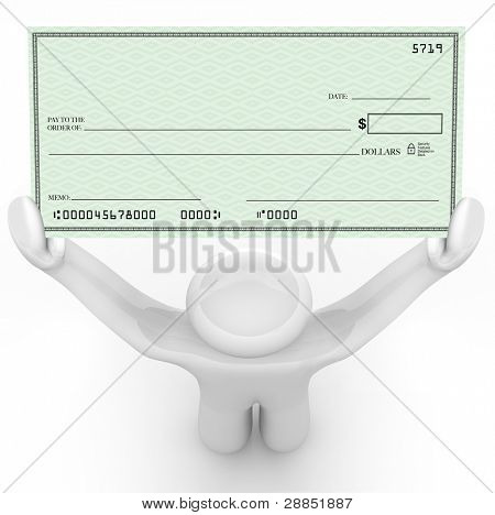 A man holds a large paper check that is blank and has space for you to include your own text