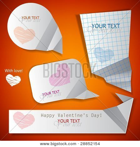 Paper speech bubble. Valentine's Day. Vector illustration