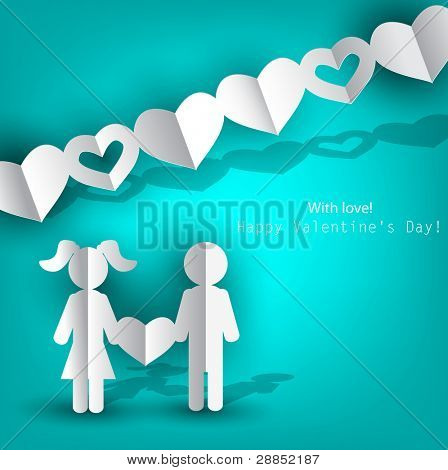 White  paper Men and Woman with heart on blue background. Vector illustration