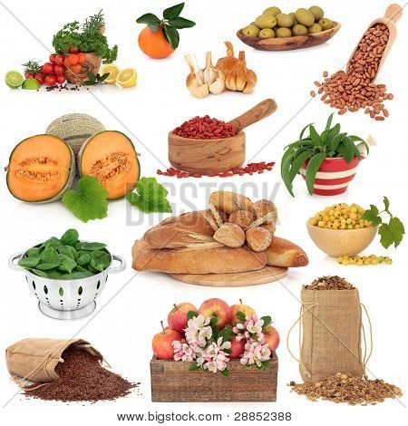 Healthy food collection high in antioxidants and vitamins isolated over white background.