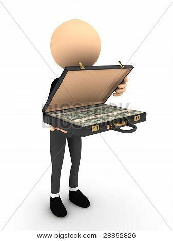 3D Person öffnen Fall mit Geld