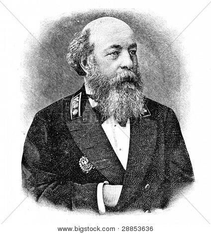 "Portrait of the director of the Mining institute Vorontsov. Engraving on steel by Shubler. Published in magazine ""Niva"", publishing house A.F. Marx, St. Petersburg, Russia, 1893"