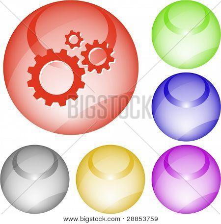 Gears. Interface element. Raster illustration.