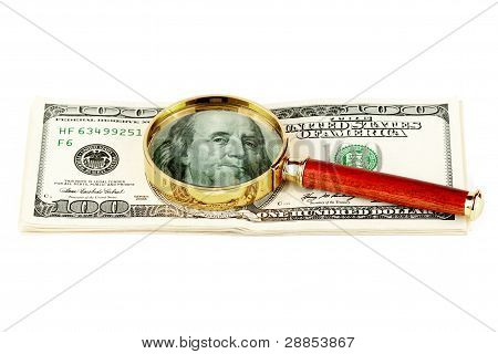 Hundred Dollar Bill Under A Magnifying