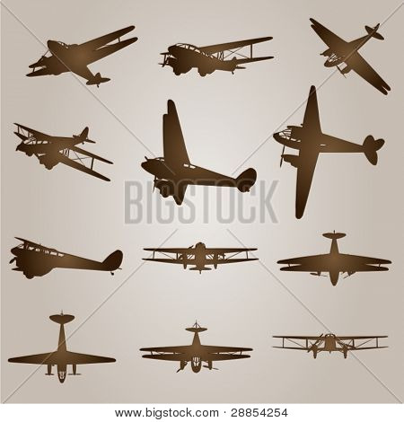Vector set of vintage brown planes or aircraft for flight or transportation designs on a beige old background
