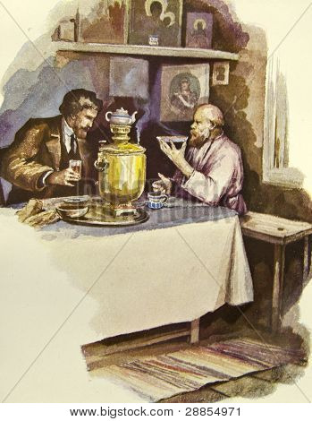 Tea Party. Father sitting at the bedside of his daughter. Illustration by artist Zahar Pichugin from book