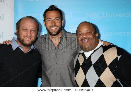 LOS ANGELES - JAN 6:  Scott Krinsky, Zachary Levi, Mark Christopher Lawrence arrives at the NBC Universal All-Star Winter TCA Party at The Athenauem on January 6, 2012 in Pasadena, CA