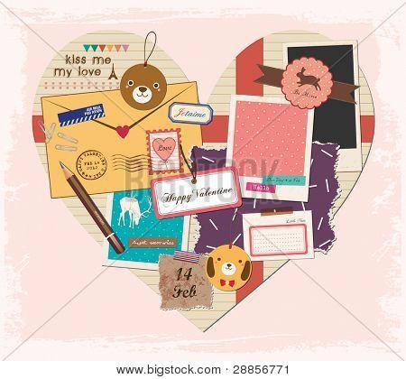 Scrapbook Elements in Love Shape Paper. Valentine's Day Design.