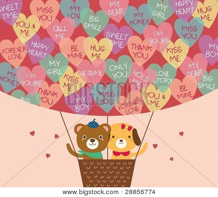 Cute Bear and Dog in A Hot Air Balloon with A Lot of Heart Shapes. Valentine's Day.
