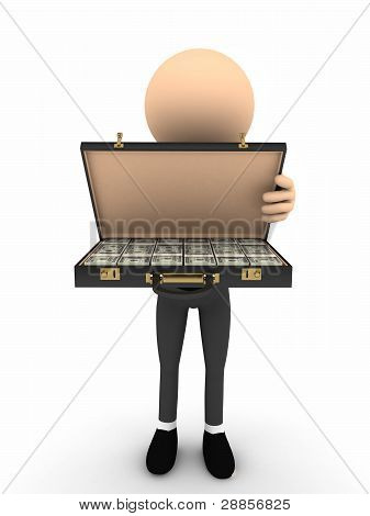 3d person open case with money