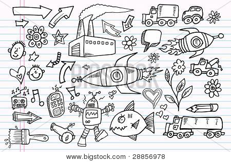 Notebook Doodle Sketch Vector Elements Set