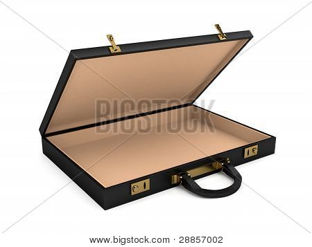 Open black case over white background