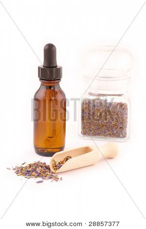 Dried lavender petals with macerated oil isolated on white