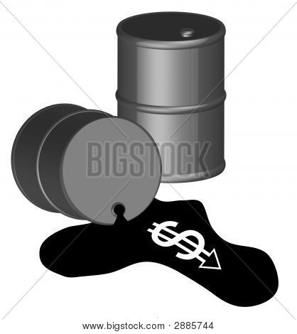 Barrell Black 3D W Oil Spill And Dollar Sign