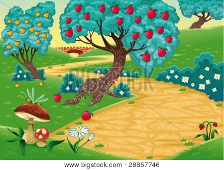 Wood with fruit trees. Funny cartoon and vector illustration