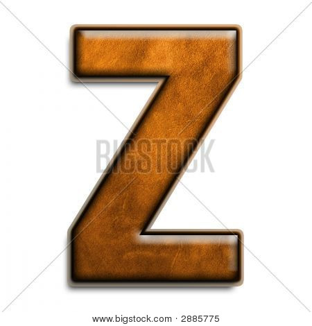 Letter Z In Brown Leather