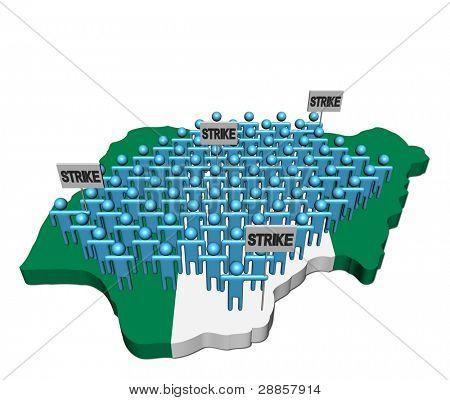 trabalhadores em greve em ilustração de bandeira de mapa de Nigéria