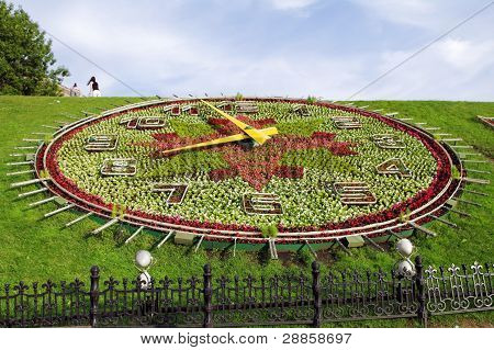 Floral Clock In Victory Park, Moscow, Russia