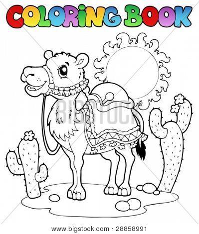 Coloring book desert with camel 1 - vector illustration.