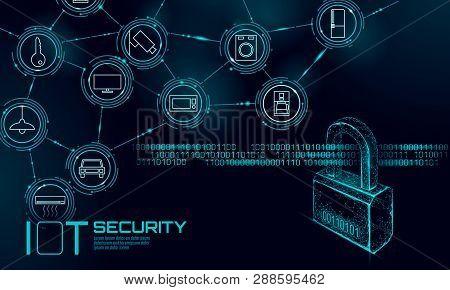 Iot Cyber Security Padlock Concept