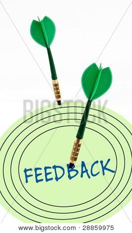 Feedback on target with green arrows