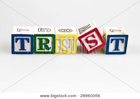 Trust word made by letter blocks