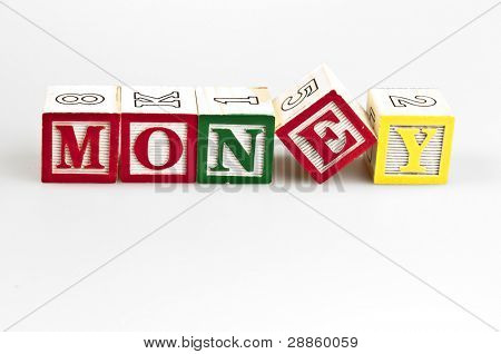Money word made by letter blocks