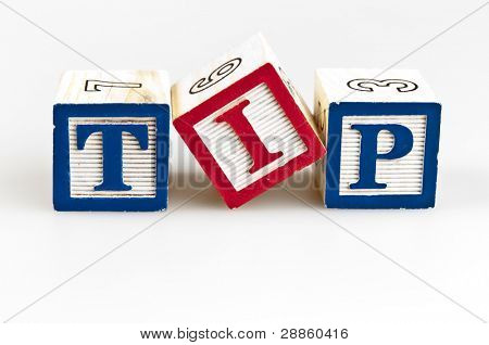 Tip word made by letter blocks