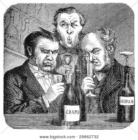 """19th century wine snobs.. Engraving by unknown artist from Swedish magazine """"Ny Illustrerad Tidning"""" printed in 1866."""