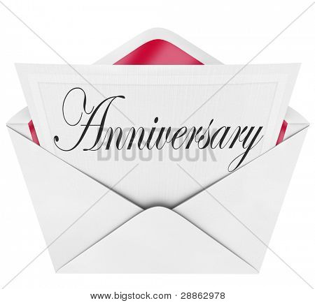 An opening envelope revealing a formal card or invitation with the word Anniversary in cursive letters