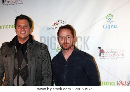 LOS ANGELES - JAN 12:  Bob Guiney, Scott Grimes. arrives at  the Los Angeles Derby Prelude Party at The London Hollywood Hotel on January 12, 2012 in West Hollywood, CA