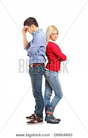Young with their backs turned after having an argument isolated on white background